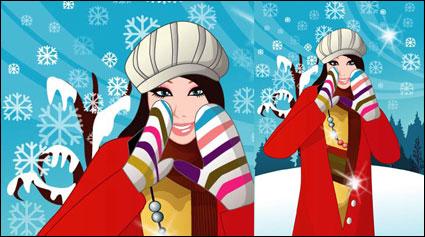 Musim dingin perempuan vektor 6