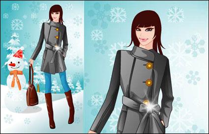 musim dingin wanita vektor 5