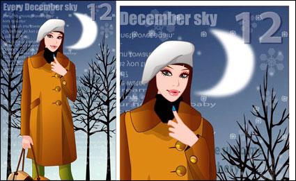 musim dingin perempuan vektor 4