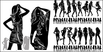 Beautiful girl black and white silhouette vector material