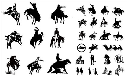Black and white picture cowboy series 2 vector material