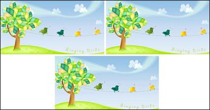 Material de vectores de árboles encantadoras cantando el ave