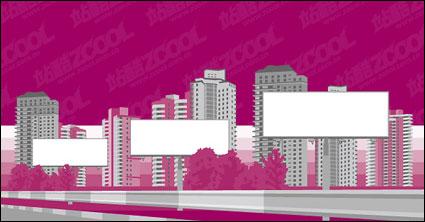 ciudad de billboard en blanco Vector material de construcción