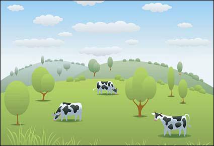 vache pâturages vecteur