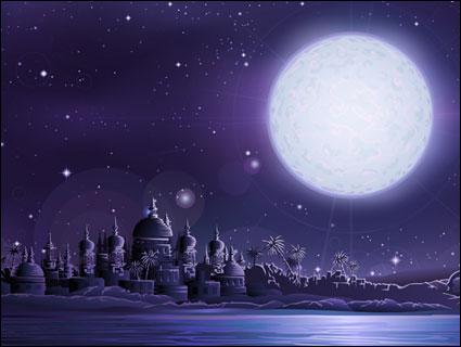 Древняя; города; моложе; полная; луна векторного материала