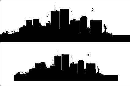 Ville américaine, New York silhouette vecteur