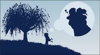 Пара, обниматься под дерево