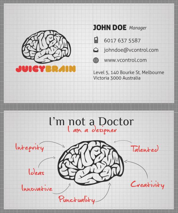 Materiales de tarjeta de presentación-PSD con capas de cerebro
