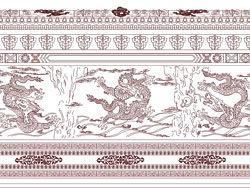 九龍壁の壁画のベクター素材